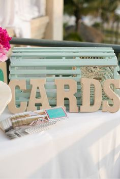 Love this painted lobster trap card box - perfect for a beach wedding. alex michele photography #cardbox #reception