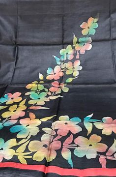 Black Handpainted Bhagalpur Tussar Silk  Kurti fabric