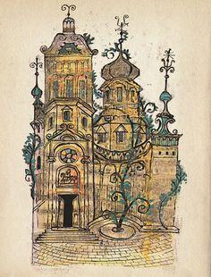 "Vintage Soviet Fairy Tale Illustration ""Russian House"" European Castle Fairytale Print - Surreal Onion Dome Castle"