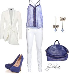 """""""Donna Karan silk wrap jacket and adorbale periwinkle pops of color"""" by shauna-rogers on Polyvore"""