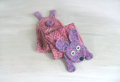Young hare, rabbit, bunny, yarn scarf, animal scarf, pink purple, wool scarves, original, funny scarf, winter gift, OOAK - pinned by pin4etsy.com
