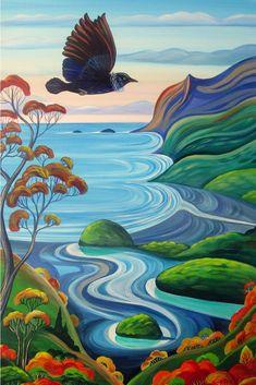 Glass Painting Designs, Paint Designs, New Zealand Adventure, New Zealand Art, Bird Artwork, Framed Prints, Canvas Prints, Simple Art, Contemporary Artists