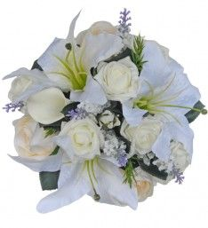 Lily, Lavender & Rose Bridal Wedding Bouquet in Ivory with Rosemary - Sarah's Flowers Artificial Wedding Bouquets, Foam Roses, Rose Leaves, Lavender Roses, Small Rose, Calla Lily, Casablanca, My Flower, Lilies