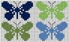 Butterfly Cross Stitch, Crochet Butterfly, Mini Cross Stitch, Cross Stitch Animals, Cross Stitch Charts, Cross Stitch Designs, Cross Stitch Patterns, Tapestry Crochet Patterns, Fair Isle Knitting Patterns