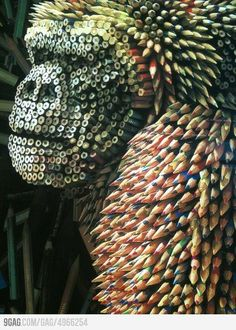 Gorilla made from colored pencils