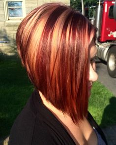 Inverted bob red and blonde
