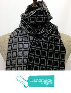 Scarf black and grey plaid double sided wool - SC073 from Nazo Design… #handmadeatamazon #nazodesign