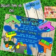 Printable Water Gun Party Invitation by PartyPaloozza on Etsy