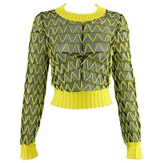 Preowned Maison Margiela Fall 2013 Runway Yellow And Black Mesh Crop... ($325) ❤ liked on Polyvore featuring tops, sweaters, yellow, layered tops, sheer crop top, sheer mesh top, sheer tops and sheer sweater