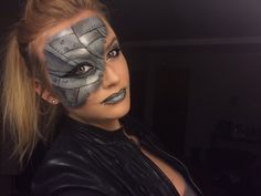 Halloween Robot, Terminator kind of look. Makeup done with black and white facepaint with liquid liner for the fine lines!