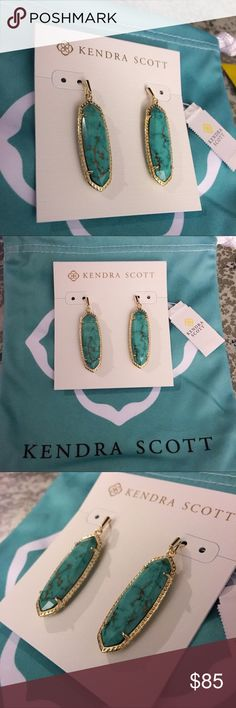 """NWT KS Layla Earrings In Variegated Turquoise NWT Kendra Scott Layla Drop Earrings In Variegated Turquoise Elongated oval stones are framed in Variegated Turquoise delicate metallic detailing with the Layla Drop Earrings in  • 14K Gold Plated Over Brass • Size: 1.88""""L X .5""""W on earwire Beautiful veining in these stones! Retired and hard to find! Open to reasonable offers but no trades! Comes with the jewelry Pouch, earring card and care card. Smoke free home. Kendra Scott Jewelry Earrings"""