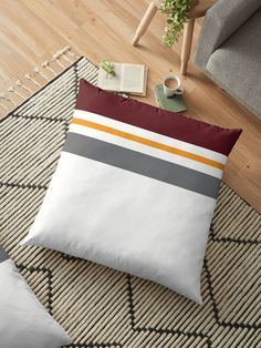 Red, gray and orange. A minimal stripped pattern for modern and happy homes. Minimal Style, Minimal Fashion, Floor Pillows, Throw Pillows, Color Lines, Pillow Design, Minimalism, Duvet Covers, Cushions
