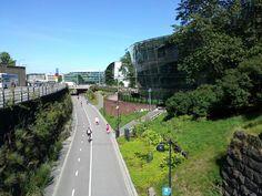 Baana (bike lane that travels through the town center) - Helsinki, Finland