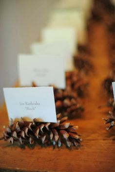 Paikkakortit kävyissä. Rustic Wedding Place Card Holder. http://memorablewedding.blogspot.com/2014/01/beautiful-wedding-table-decoration-ideas.html