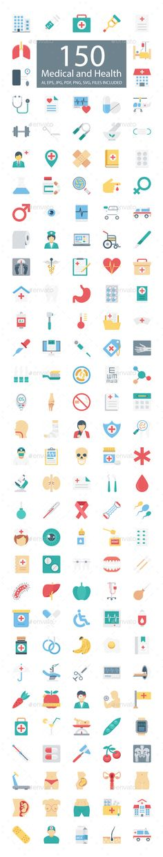 150 Medical and Health Vector Icons