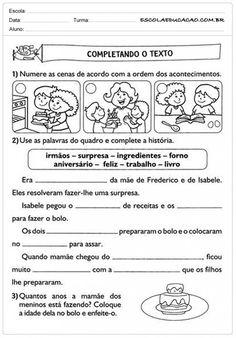 Atividades de Português 2º ano - Completando o Texto