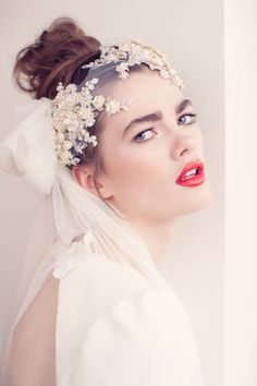 ELLA headdress is perfect with red lips