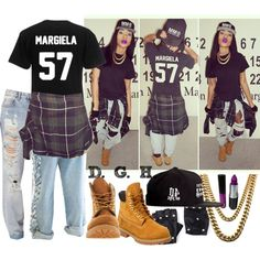 A fashion look from April 2013 featuring distressed jeans, timberland shoes and gold jewellery. Browse and shop related looks. Sporty Outfits, Dope Outfits, Swag Outfits, Dress Outfits, Dresses, Dope Fashion, Teen Fashion, Fashion Outfits, Milk Fashion