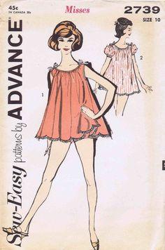 62a557f888d8 1960s nightwear Nightgown Pattern