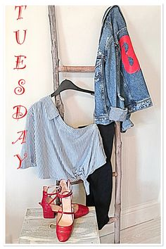 #outfitoftheday - #denim, #stripes with flashes of #red ! #denimjacket #offshoulder #newshoes #cute #spoiltfeet #oot #ootd #personalstyle #styleblogger #blogger #fblogger #fashion #statement #fashionista #myste #outfitinspo #giggin #pearlsandvagabonds