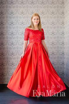 Červené šaty na ples s čipkou a saténovou sukňou s vačkami Formal Dresses, Fashion, Tea Length Formal Dresses, Moda, Formal Gowns, Fashion Styles, Black Tie Dresses, Gowns, Fashion Illustrations