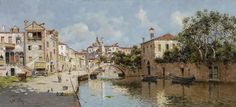 https://flic.kr/p/niomSw | Antonio María Reyna Manescau - Venetian Canal | Antonio María Reyna Manescau (Málaga, December 5, 1859 - Rome, February 3, 1937) was a Spanish painter of Venetian scenes. From a young age he showed great love for drawing and began his artistic training at the School of Fine Arts in Malaga, and in 1882 received a grant from the county council for further study in Italy. He moved to Rome, the city where he lived until his death and where he married the opera singer…