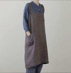 linen square cross apron   wear & carry   dar gitane