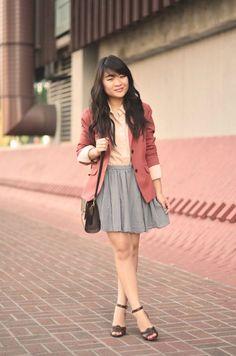 Peach blouse, salmon blazer, grey skirt, brown heels and purse. I'd wear with a longer skirt.
