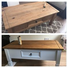 Up cycled Mexican corona pine coffee table. Blue sky