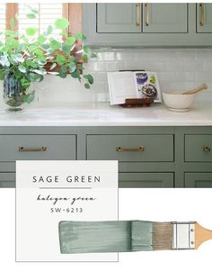 Our top color palette trends spring 2017 - sage green kitchen cabinet paint colors Green Kitchen Cabinets, Kitchen Cabinet Colors, Kitchen Redo, Kitchen And Bath, New Kitchen, Oak Cabinets, Vintage Kitchen, Sage Green Kitchen, Country Kitchen