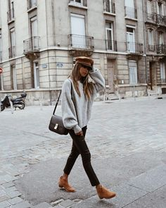 hat, styling hat, booties, street style, sweater outfit, fall outfit, styling for fall, bag, handbag