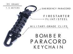 Bomber Barrel is raising funds for Firestarter Survival Bracelet / Carabiner Paracord Keychain on Kickstarter! Firestarter Paracord Bracelet, Paracord Keychain, Duffle Bag Survival Gear by Bomber & Company Paracord Keychain, Paracord Bracelets, Flint And Steel, Edc Gadgets, Bottle Cutting, Paracord Projects, Paracord Ideas, Diy Projects, Diy Bracelet