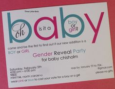 Gender reveal invites