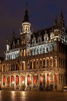 Illuminated Grand Palace in Brussels, Belgium.
