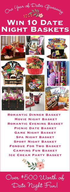 Fun Valentine's Day Giveaway! WIN 10 Date Night Baskets. One for EVERY month for the REST of the YEAR! LivingLocurto.com