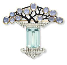 ART DECO AQUAMARINE, DIAMOND, PURPLE SAPPHIRE AND ENAMEL BROOCH, BY GEORGE FOUQUET c1925, http://www.christies.com/lotfinder/jewelry/an-art-deco-aquamarine-diamond-purple-sapphire-5859736-details.aspx?from=salesummary&intObjectID=5859736&sid=2e3f2c21-9bd2-48e2-8dd7-8f55a8672707
