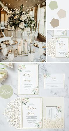 elegant and romantic ivory wedding invitations #ewi #weddinginvitations