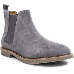 Steve Madden Highline Boots (7.050 RUB) ❤ liked on Polyvore featuring men's fashion, men's shoes, men's boots, grey suede, mens suede chelsea boots, mens gray shoes, mens grey suede boots, mens faux leather boots and mens slip on boots