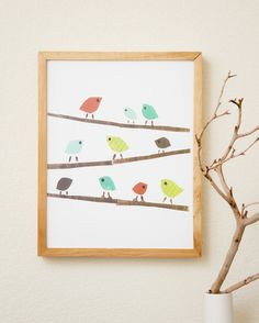 Forest Friends Birdies Recycled Collage Print 8x10. $22.00, via Etsy.
