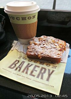 Bouchon Bakery New York City. Almond Brioche and coffee.