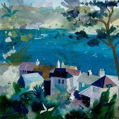 St Mawes Estuary Silkscreen Print by Richard Tuff Watercolor Landscape, Abstract Landscape, Landscape Paintings, Watercolor Art, English Artists, Guache, Commercial Art, Coastal Art, Naive Art