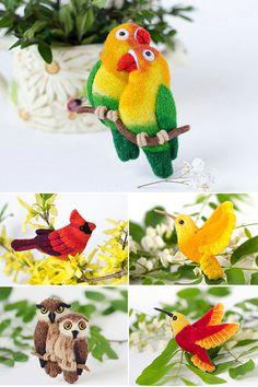 Felt Bird Brooch / love bird brooch / lovebirds pin / colorful brooch / love birds jewelry / animal brooches present for Her gift  for women