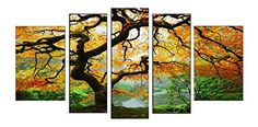 Startonight Canvas Wall Art Maple Nature USA Design for Home Decor Dual View Surprise Artwork Modern Framed Ready to Hang Wall Art Set of 5 Total 3543 X 7087 Inch 100 Original Art Painting -- Check out this great product by click affiliate link Amazon.com