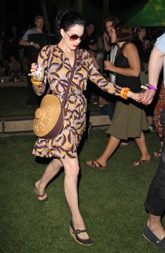 Dita VT rockin' a casual (for her) vintage look with some butterscotch bangles and Maj Jong stretch bracelet.