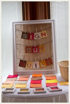 Adorable guest book idea- a Guest book quilt made from squares of fabric your guests sign.