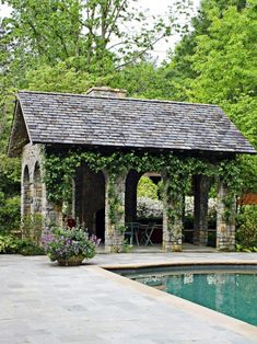 Pool house - I would love something like this in my back yard! Outdoor Rooms, Outdoor Living, Porches, Gazebo, Pergola, Pool Cabana, Garden Buildings, Cool Pools, Pool Houses