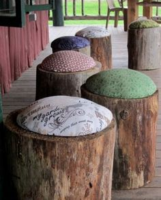 DIY Stump Wood Stools - DIY Gift World