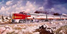 Santa Fe Alco PA Warbonnets train painting by aviation and railroad artist William Gardoski- Diesel, Train Drawing, Bnsf Railway, Burlington Northern, Train Art, Train Pictures, Model Train Layouts, Train Tracks, Model Trains