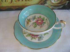 E B Foley Aqua Turquoise Floral Artist Signed TEA CUP AND Saucer SET