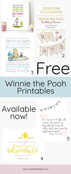 Who doesn't love Winnie the Pooh! Grab some free printables for the kids. These freebies include some cute banners, quotes and illustrations and would be a lovely addition to any boy or girls nursery. Don't wait; check out the printables now at www.trueblissdesigns.com.